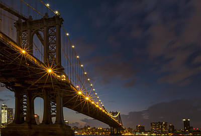 Photograph - Manhattan Bridge At Blue Hour by Eduard Moldoveanu