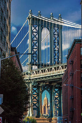 Empire State Photograph - Manhattan Bridge Frames Empire State by Panoramic Images