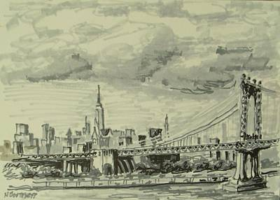Empire State Building Drawing - Manhattan Bridge by Nicolas Bouteneff