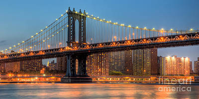 Photograph - Manhattan Bridge Panoramic by Clarence Holmes