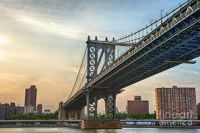 Photograph - Manhattan Bridge Sunset IIi by Ray Warren