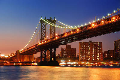 Popstar And Musician Paintings Royalty Free Images - Manhattan Bridge sunset New York City Royalty-Free Image by Songquan Deng