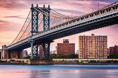 Photograph - Manhattan Bridge Under A Purple Sunset by Mihai Andritoiu