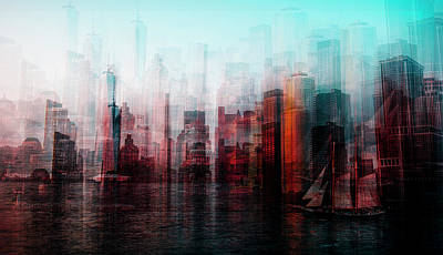 Abstract Skyline Wall Art - Photograph - Manhattan by Carmine Chiriaco'