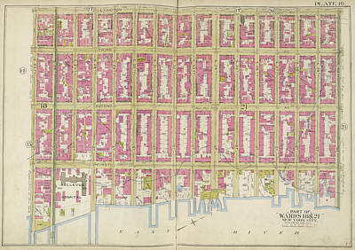 Lexington Drawing - Manhattan, Double Page Plate No. 16 Map Bounded by Litz Collection