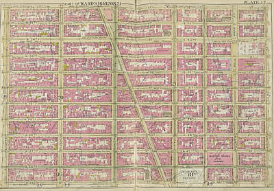 Lexington Drawing - Manhattan, Double Page Plate No. 17 Map Bounded By E. 36th by Litz Collection