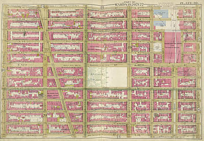 Lexington Drawing - Manhattan, Double Page Plate No. 20 Map Bounded By W. 47th by Litz Collection