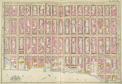 Lexington Drawing - Manhattan, Double Page Plate No. 21 Map Bounded by Litz Collection