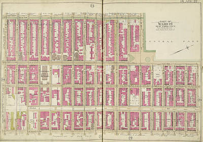Lexington Drawing - Manhattan, Double Page Plate No. 22 Map Bounded By 6th Ave by Litz Collection