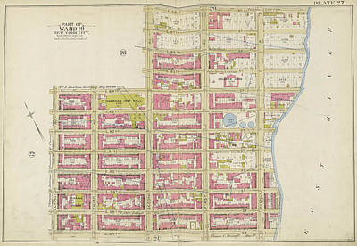 Lexington Drawing - Manhattan, Double Page Plate No. 27 Map Bounded By E by Litz Collection
