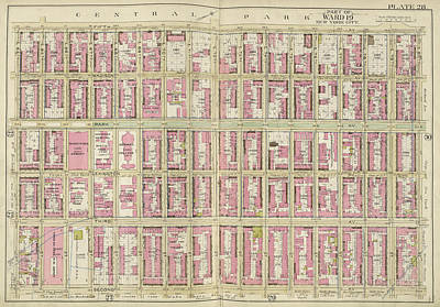 Manhattan, Double Page Plate No. 28 Map Bounded By 5th Ave Art Print by Litz Collection