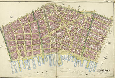 No 3 Drawing - Manhattan, Double Page Plate No. 3 Map Bounded By William St by Litz Collection