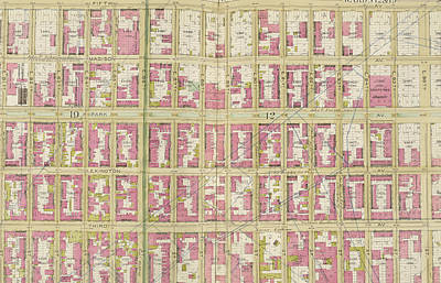 Manhattan, Double Page Plate No. 30 Map Bounded By 5th Ave Art Print by Litz Collection