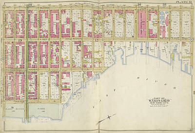 101st Drawing - Manhattan, Double Page Plate No. 31 Map Bounded By 2nd Ave by Litz Collection