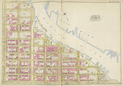 Harlem Drawing - Manhattan, Double Page Plate No. 41 Map Bounded By Harlem by Litz Collection