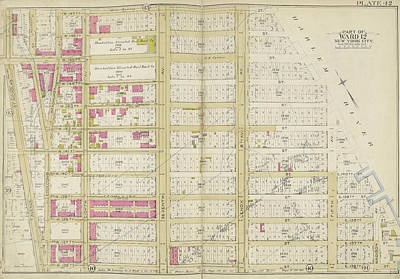 Harlem Drawing - Manhattan, Double Page Plate No. 42 Map Bounded By W by Litz Collection