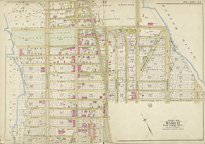 Harlem Drawing - Manhattan, Double Page Plate No. 43 Map Bounded By W by Litz Collection