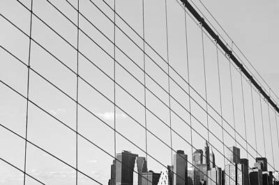 Manhattan From Brooklyn Bridge Print by Ilker Goksen