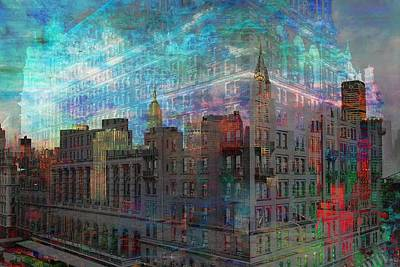 Digital Art - Manhattan Ghostly Cityscape by Mary Clanahan