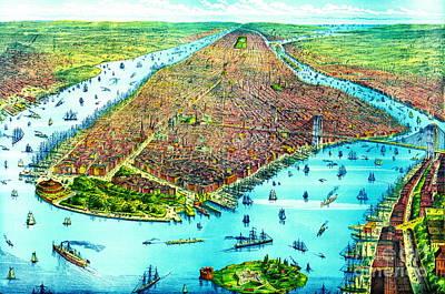 Manhattan Island 1879 Print by Padre Art