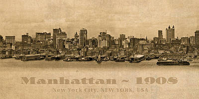 City Scenes Mixed Media - Manhattan Island New York City Usa Postcard 1908 Waterfront And Skyscrapers by Design Turnpike