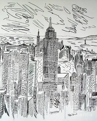 Built Structure Drawing - Manhattan by Janice Rae Pariza