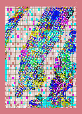 Painting - Manhattan Map Abstract 2 by Bekim Art