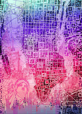 Painting - Manhattan Map Abstract 3 by Bekim Art