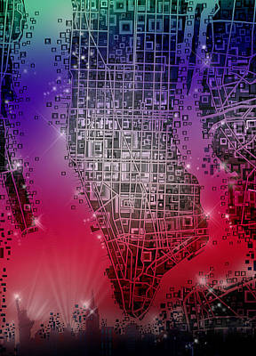 Painting - Manhattan Map Abstract 4 by Bekim Art