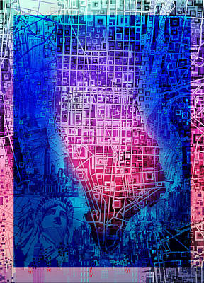 Chrysler Building Painting - Manhattan Map Abstract 5 by Bekim Art