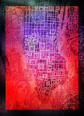 Chrysler Building Painting - Manhattan Map Abstract 6 by Bekim Art