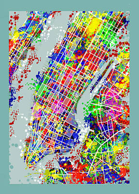 Painting - Manhattan Map Abstract by Bekim Art
