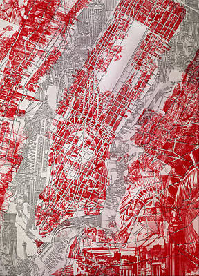 Liberty Painting - Manhattan Map Antique 3 by Bekim Art