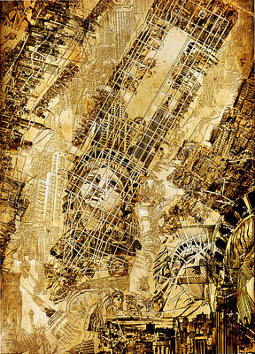 Chrysler Building Painting - Manhattan Map Antique by Bekim Art