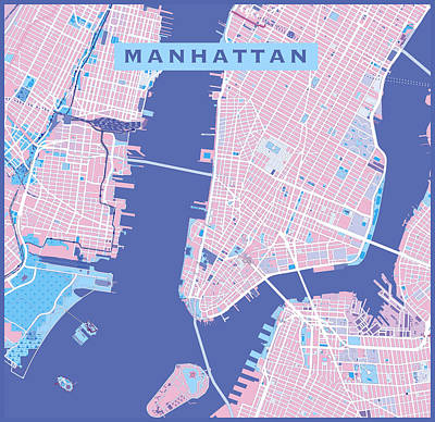 Painting - Manhattan Map Graphic by Gary Grayson