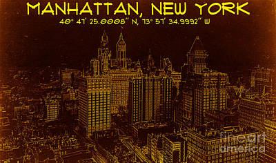 Digital Art - Manhattan New York 1912 Blueprint Gps  by Celestial Images