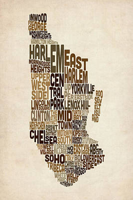 Manhattan New York Typography Text Map Print by Michael Tompsett