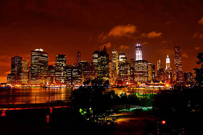 Photograph - Manhattan Night Skyline by Greg Norrell