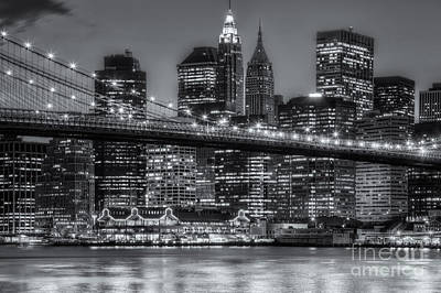 Photograph - Manhattan Night Skyline V by Clarence Holmes