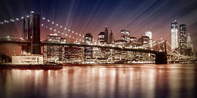 Ferry Digital Art - Manhattan Nyc - The Setting Sun by Melanie Viola