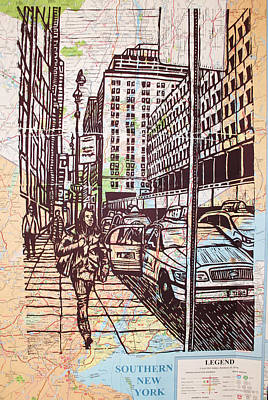 Manhattan On Map Art Print by William Cauthern