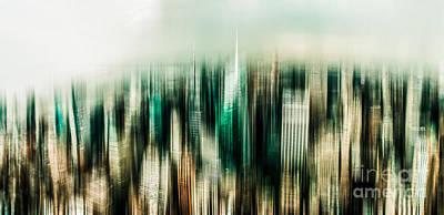 Nyc Digital Art - Manhattan Panorama Abstract by Hannes Cmarits
