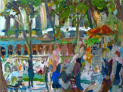 Painting - Manhattan Park Scene by Edward Ching