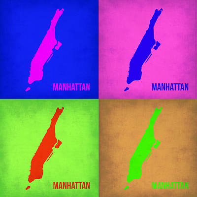 Pop Digital Art - Manhattan Pop Art Map 1 by Naxart Studio