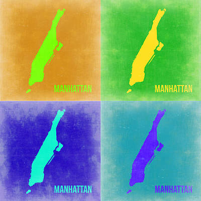 Pop Digital Art - Manhattan Pop Art Map 2 by Naxart Studio