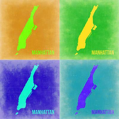 New York Map Painting - Manhattan Pop Art Map 2 by Naxart Studio