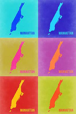 New York Map Painting - Manhattan Pop Art Map 3 by Naxart Studio
