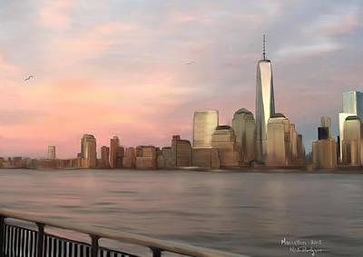 Ipad Art Painting - Manhattan Skyline At Sunset by Michael Hodgson