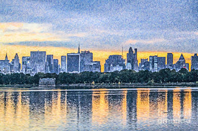 Digital Art - Manhattan Skyline From Central Park Reservoir Nyc Usa by Liz Leyden