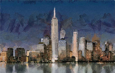 Painting - Manhattan Skyline At Blue Night Empire State by Georgi Dimitrov